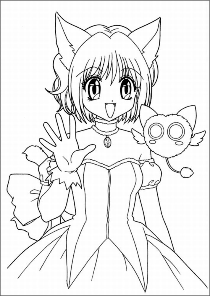 cute anime coloring pages - photo#10